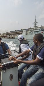 Members of the Christian Young Adult Fellowship of Sierra Leone go for a ride aboard a Rigid Hull Inflatable Boat during a visit of HMCS Summerside in Freetown, Sierra Leone, during Neptune Trident 17-01, on March 22, 2017.  Photo: MCpl Pat Blanchard, Canadian Forces Combat Camera
