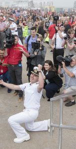 Her Majesty's Canadian Ship (HMCS St John's returned home today from 6 month deployment Op REASSURANCE at Her Majesty's Canadian Dockyard Halifax on July 17, 2017. HMCS St John's sailor Sub Lieutenant Tristan Lapointe proposes to his fiancé (Gabrielle Lambert)  upon return. She said yes.  Photo Credit: Mona GHiz, MARLANT PA HS88-2017-0181-337