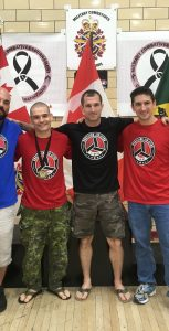 PO2 Greg Fillmore (left) and MCpl Scott Rose (second from left) brought home medals from the Military Combatives Grappling Championships, which took place June 24 in Petawawa. Photo: submitted
