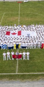 Naval Fleet School Atlantic & Naval Training Development Centre Atlantic line up in formation for a Ceremonial Division Parade Group Shot at Porteous Field on July 29.  Photo: Mona Ghiz, MARLANT PA