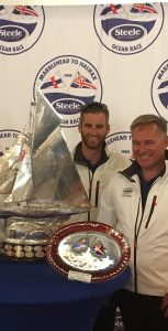 Capt Mike Evans and the crew of Sea Smoke received the Friar Trophy for the best combined result in both the Marblehead and St.Pierre Ocean Races. Photo: submitted