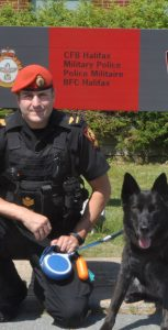 Sgt Justin Caron has been Vimy's handler since the dog was 16 weeks old. The duo was recently assigned to CFB Halifax.  Photo: submitted
