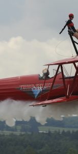 Carol Pilon of Third Strike Wingwalking, the only wingwalker in the country, will be performing at Air Show Atlantic. Photo: Third Strike Wingwalking