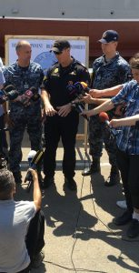 Lt(N) Adrian Lalancette, Dive Team Commander, speaks with International media during a SEA BREEZE 2017 press day. Photo: Capt Marc Greatti, MARLANT PA