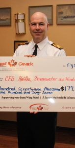 From left, CANEX CFB Halifax Manager Glenn Banfield, Base Commander Capt(N) Paul Forget, and SISIP Branch Manager Jim Boylan at Juno Tower on November 15, where CANEX and SISIP presented a cheque for $179,967 to the CFB Halifax and 12 Wing Shearwater base/wing fund. Photo: Ryan Melanson/Trident Staff