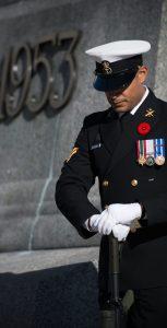 LS Richard Balbuena stands sentry at the National War Memorial in Ottawa during Remembrance Day ceremonies on November 11. Photo: Pte Tori Lake, CFSU Ottawa