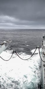 HMCS Toronto, left, and MV Asterix, connected for RAS at sea. PHOTO: Davie Shipbuidling