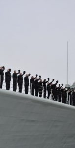 Sailors line the bow of HMCS Athabaskan during the ship's paying off ceremony on March 10, 2017 Photo: FIS Halifax