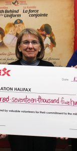 Special thanks to CANEX for sponsoring the Volunteer Recognition Event.  Kathryn Chambers, Myrna Stewart and Shelley Hopkins accept the mock cheque showing the value of volunteer time that is given to H&R MFRC and PSP. Photo: submitted