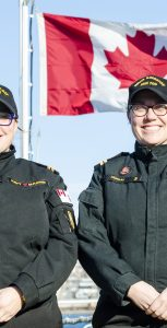 Lt(N) Stephenie Murray, left, and Lt(N) Andrea Murray, are twin sisters in the RCN who are both currently Executive Officers on Kingston-class ships. Photo: Mona Ghiz, MARLANT PA