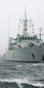 HMC ships Summerside and Kingston have a stormy welcome as they returned to Halifax from Op PROJECTION West Africa on April 17. MONA GHIZ, MARLANT PA