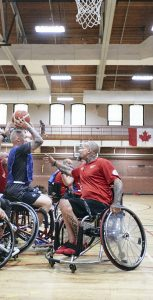 Invictus Games Team Canada members play wheelchair basketball at STADPLEX as part of the team's training camp in Halifax in preparation for the 2018 Invictus Games in Sydney, Australia. Photo: SOLDIER ON