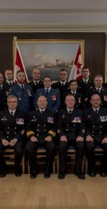 The group of award recipients at the latest Commander MARLANT/JTFA Honours & Awards Ceremony, which took place October 25 inside Juno Tower. Seated front row, centre are RAdm Craig Baines, Commander MARLANT and JTFA, and Formation Chief CPO1 Derek Kitching. CPL DAVID VELDMAN, FIS
