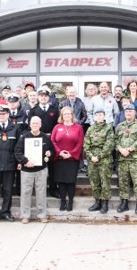 Members of the CFB Halifax and PSP community gathered outside STADPLEX after Base Commander Capt(N) David Mazur locked the doors of the now-closed facility on October 31. RYAN MELANSON, TRIDENT STAFF
