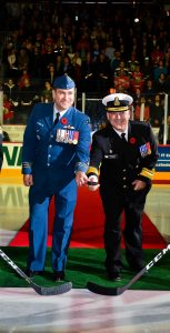 RAdm Craig Baines, Commander MARLANT and JTFA, was on the ice for the ceremonial puck drop, along with 12 Wing OSS CO LCol William Reyno, at the 15th annual Halifax Mooseheads DND Appreciation Night on November 9. HALIFAX MOOSEHEADS