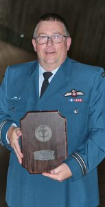 Capt Steven Stuart with his CAF Sports Award for Official of the Year, which was presented at the annual ceremony at the Canadian War Museum in Ottawa on October 18. PTE TORI LAKE, CFSU OTTAWA IMAGING SERVICES