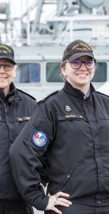LS Melanie Shering, an NCI Op aboard HMCS Toronto, right, is joined by her mother, MCpl Manuela Berger, who is also the ship's new image tech. Both are deploying for six months to Mediterranean Sea as part of Operation REASSURANCE. MONA GHIZ, MARLANT PA
