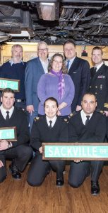 During the visit to the ship, Mayor Savage presented Halifax Street signs to place in the flats of the ship, to reflect its namesake city.                             MONA GHIZ, MARLANT PA