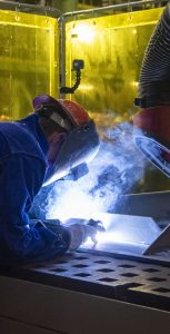 Irving Shipyard apprentice Connor Warren makes welds for the future HMCS William Hall, the fourth Arctic and Offshore Patrol Vessel. MONA GHIZ, MARLANT PA