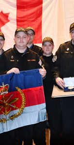 The crew of HMCS St. John's accepts a unit commendation from Gen Jonathan Vance, for their actions tracking Russian naval forces in the Black Sea during Op REASSURANCE in 2017. RCN