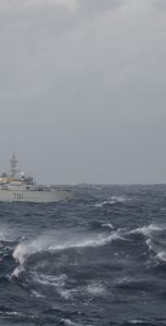 A vessel in distress gets assistance from HMCS Glace Bay and a Cormorant helicopter. AVIATOR BRADEN TRUDEAU, FIS HALIFAX