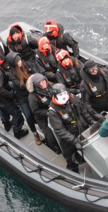 Guests of HMCS Ville de Quebec get ready for a RHIB ride around Sable Island on April 25, with Parks Canada's Jason Surette, Sable Island's Operations Manager, acting as tour guide. RYAN MELANSON, TRIDENT STAFF