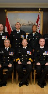 RAdm Craig Baines, front row centre, is seated, along with Formation Chief CPO1 Derek Kitching, with the award recipients from the latest Commander MARLANT and JTFA Honours and Awards Presentation Ceremony, held at Juno Tower on May 9. CPL DAVID VELDMAN, FIS