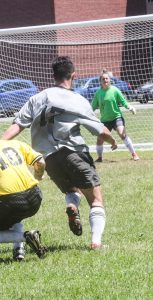 Campus Atlantic takes on 12 AMS during the MEGA Soccer tournament from June 11-14. Campus ended the tournament with the most wins, earning the victory. RYAN MELANSON, TRIDENT STAFF