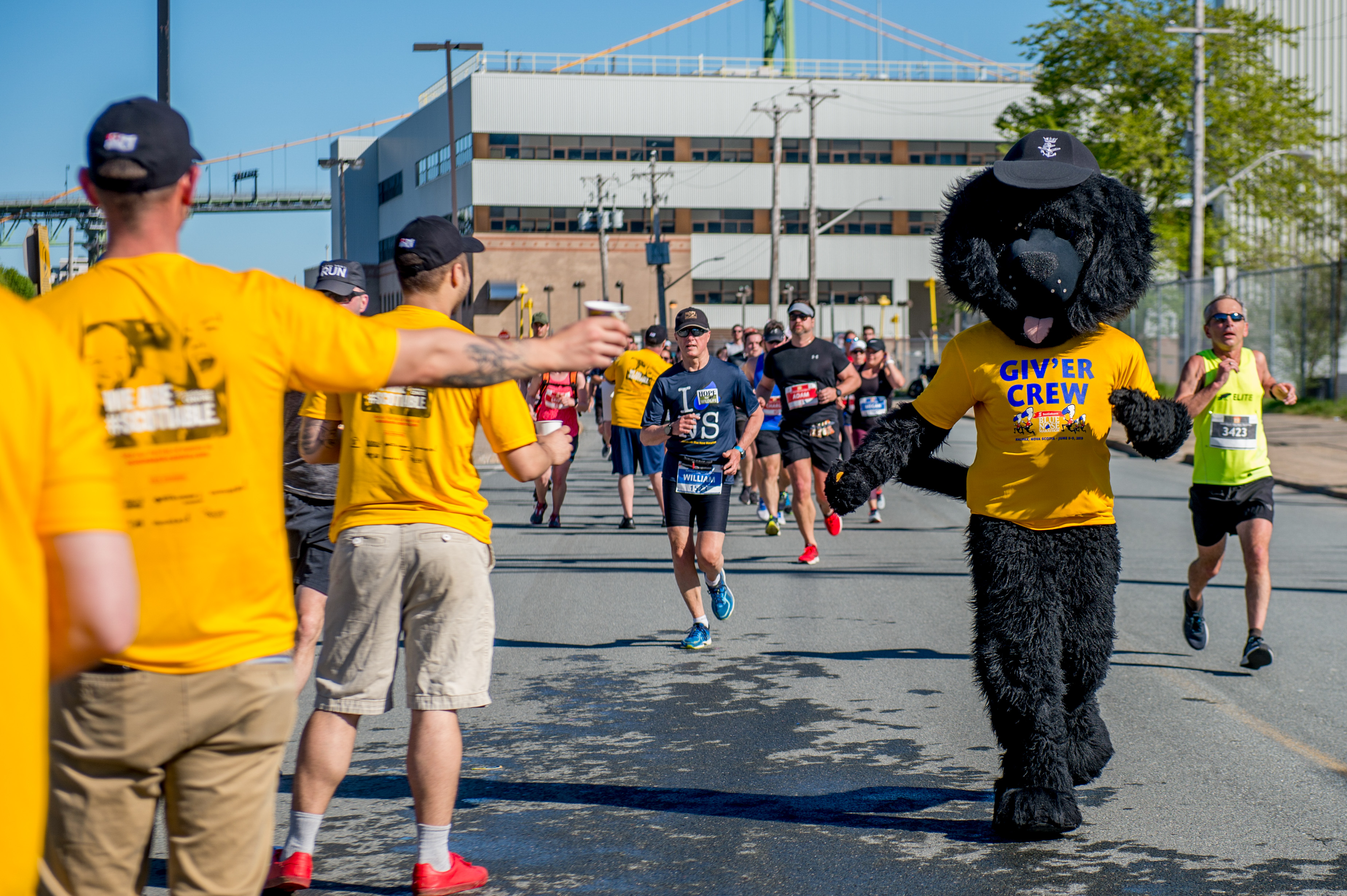 Cheering runners during the Blue Nose Marathon
