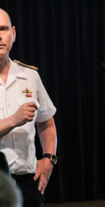 Cmdre Christopher Earl, Director General Maritime Equipment Program Management, spoke to members of the Naval Technical community at a town hall event following the seminar. RYAN MELANSON, TRIDENT STAFF