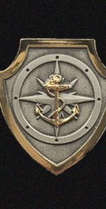 The NBP Basic Qualification badge is a silver shield bordered by gold trim. A stylized naval compass is centred on the shield in the background with a gold fouled anchor centred on top of the compass. SUBMITTED