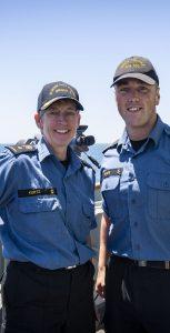 Cmdre Kurtz and LS Sears on board HMCS Halifax during Op REASSURANCE. CPL BRADEN TRUDEAU, FIS