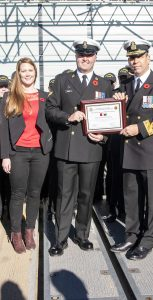 MS Alex Harvey was joined by his wife, command team and shipmates as he was presented the Sailor of the Quarter award on board HMCS Montreal on November 6. The presentation was made by Cmdre Richard Feltham, CCFL, and Fleet Chief CPO1 Tom Lizotte. MONA GHIZ, MARLANT PA