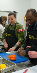 CAF members participate in the PSP Health Promotion Cooking class held at the Royal Artillery Park on January 30, 2020. AVIATOR RENZO RUIZ HAAS, FIS HALIFAX