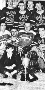 The Stadacona team captured the Maritime Intermediate Hockey Championship in 1953, taking a 7-3 win over Campbellton in the final. CROWS NEST ARCHIVES