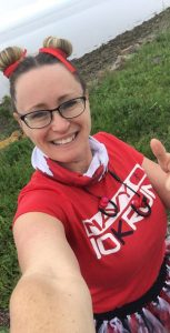 Trina Hall Samson shows off her Navy 10K gear before heading out for a run on July 1, Canada Day. SUBMITTED
