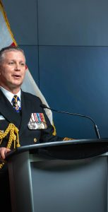 Adm McDonald delivers his first address as Canada's new CDS. CPL RACHAEL ALLEN, CAF VISUAL COMMUNICATIONS SUPPORT