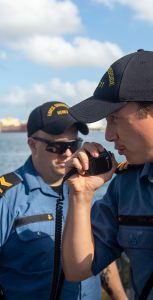 Lieutenant William Belanger-Croteau at work on board HMCS Summerside while on deployment on Operation CARIBBE. CAF PHOTO