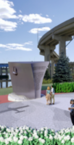 Concept art of the planned Naval Memorial to be installed along the Harbour Passage trail in Saint John, New Brunswick. SUBMITTED