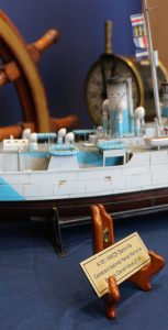 A model of HMCS Sackville, built by retired submariner Darrell Kays, was presented to Naval Fleet School (Atlantic) by the Canadian Naval Memorial Trust on April 1. LT(N) ALEX GRINTON, NFS(A)
