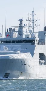 A layer of ice could be seen on the bow of HMCS Harry DeWolf as it returned to Halifax Harbour on March 3 after cold weather and ice trials. CPL DAVID VELDMAN, FORMATION IMAGING SERVICES
