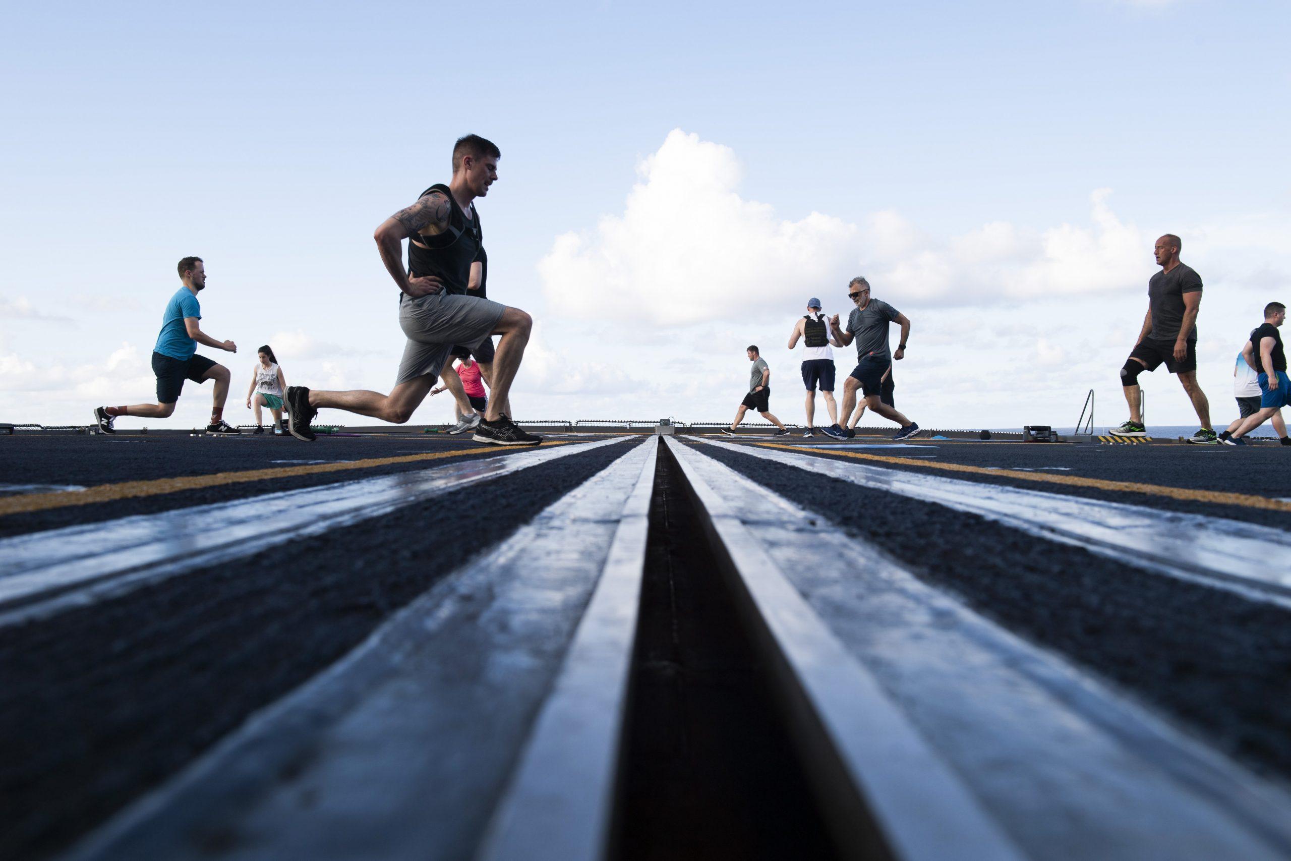 Physical training aboard HMCS Harry DeWolf
