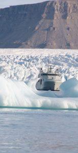 HMCS Harry DeWolf approaches the Cunningham Glacier in Crocker Bay, Nunavut on August 21. CPL SIMON ARCAND
