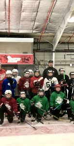 PSP recently hosted two kids' hockey camps at the Shearwater Flyers Arena. All together more than 60 kids took part. Pictured here are participants at the first session, along with coaching staff: Barry Noseworthy, Evan Beaton, Jamie Mercer, Andrew Glessing, Ken Mayo and Marty Cound. JOANIE VEITCH, TRIDENT STAFF